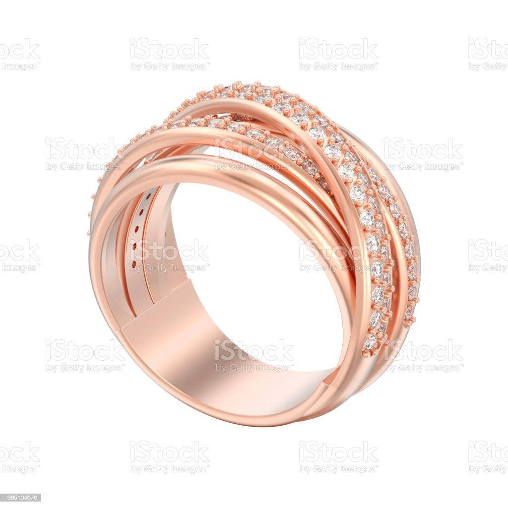 3D illustration isolated rose gold decorative diamond criss cross ring zbiór zdjęć royalty-free
