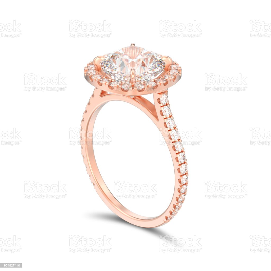 3D illustration isolated rose gold engagement wedding cushion diamond ring with shadow royalty-free stock photo