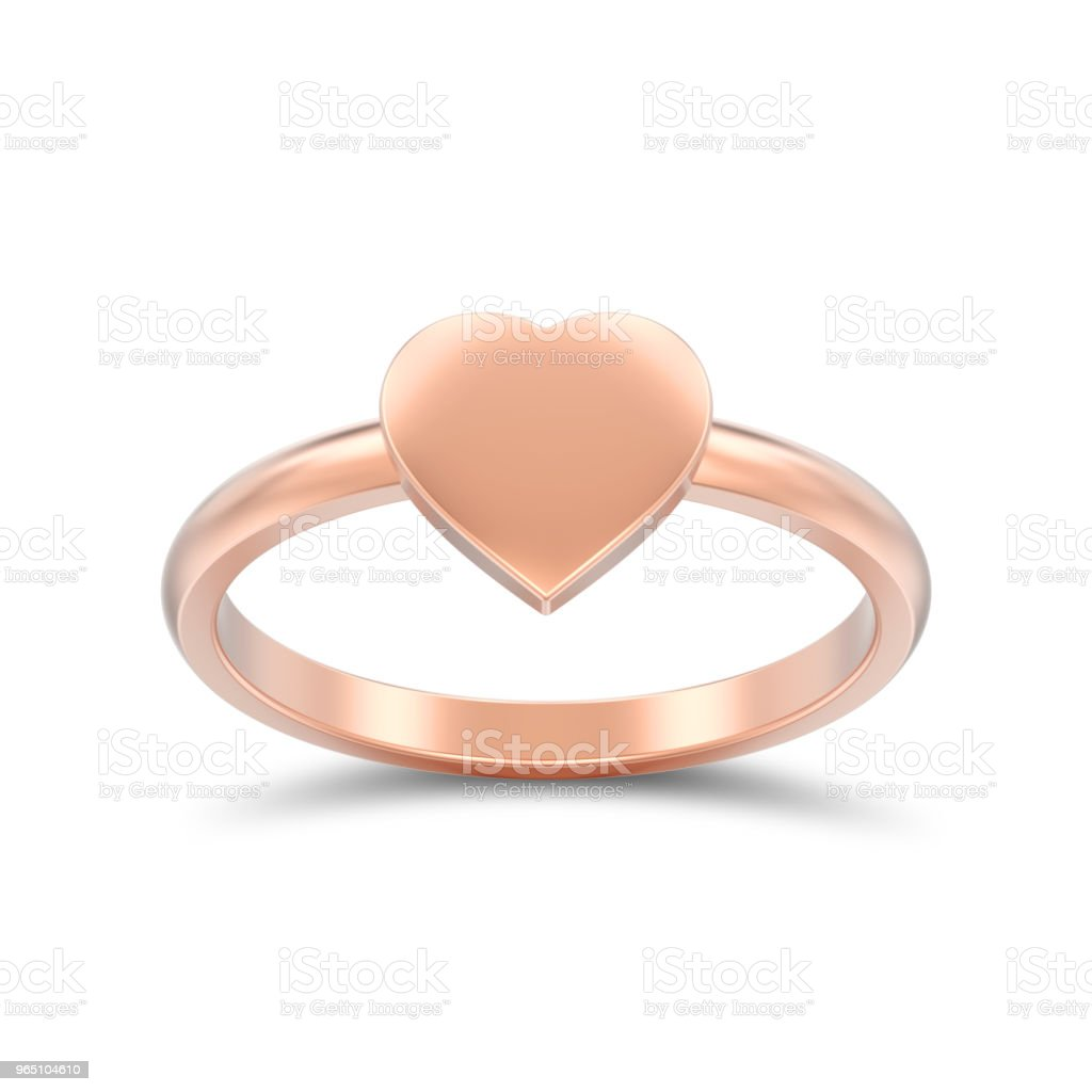 3D illustration isolated rose gold engagement wedding heart ring with shadow royalty-free stock photo