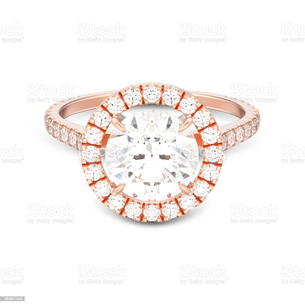 3D illustration isolated rose gold engagement wedding round diamond ring with shadow royalty-free stock photo