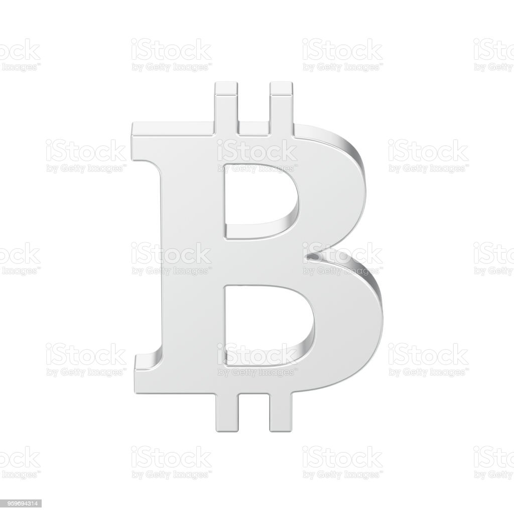 3D illustration isolated silver bitcoin stock photo