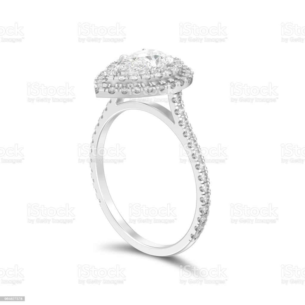 3D illustration isolated silver decorative pear diamond ring with shadow royalty-free stock photo