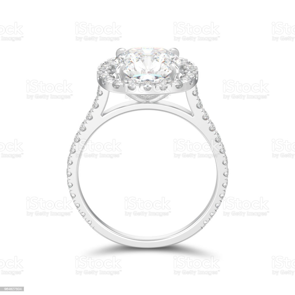 3D illustration isolated silver engagement wedding cushion diamond ring with shadow royalty-free stock photo