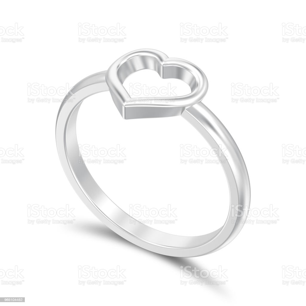 3D illustration isolated silver engagement wedding heart ring with shadow zbiór zdjęć royalty-free