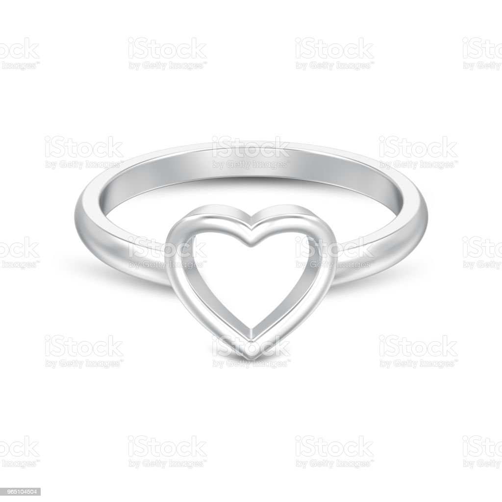 3D illustration isolated silver engagement wedding heart ring with shadow royalty-free stock photo