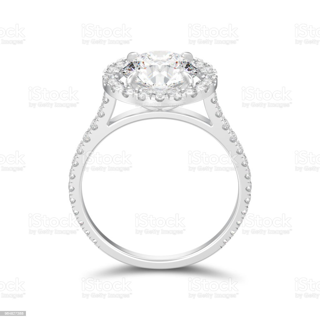 3D illustration isolated silver engagement wedding round diamond ring with shadow royalty-free stock photo