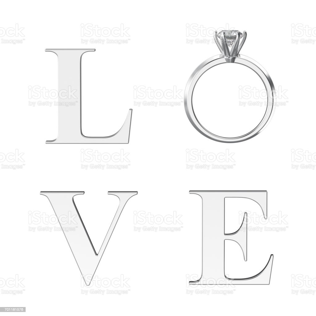 3D illustration isolated silver text word love with silver diamond wedding ring stock photo