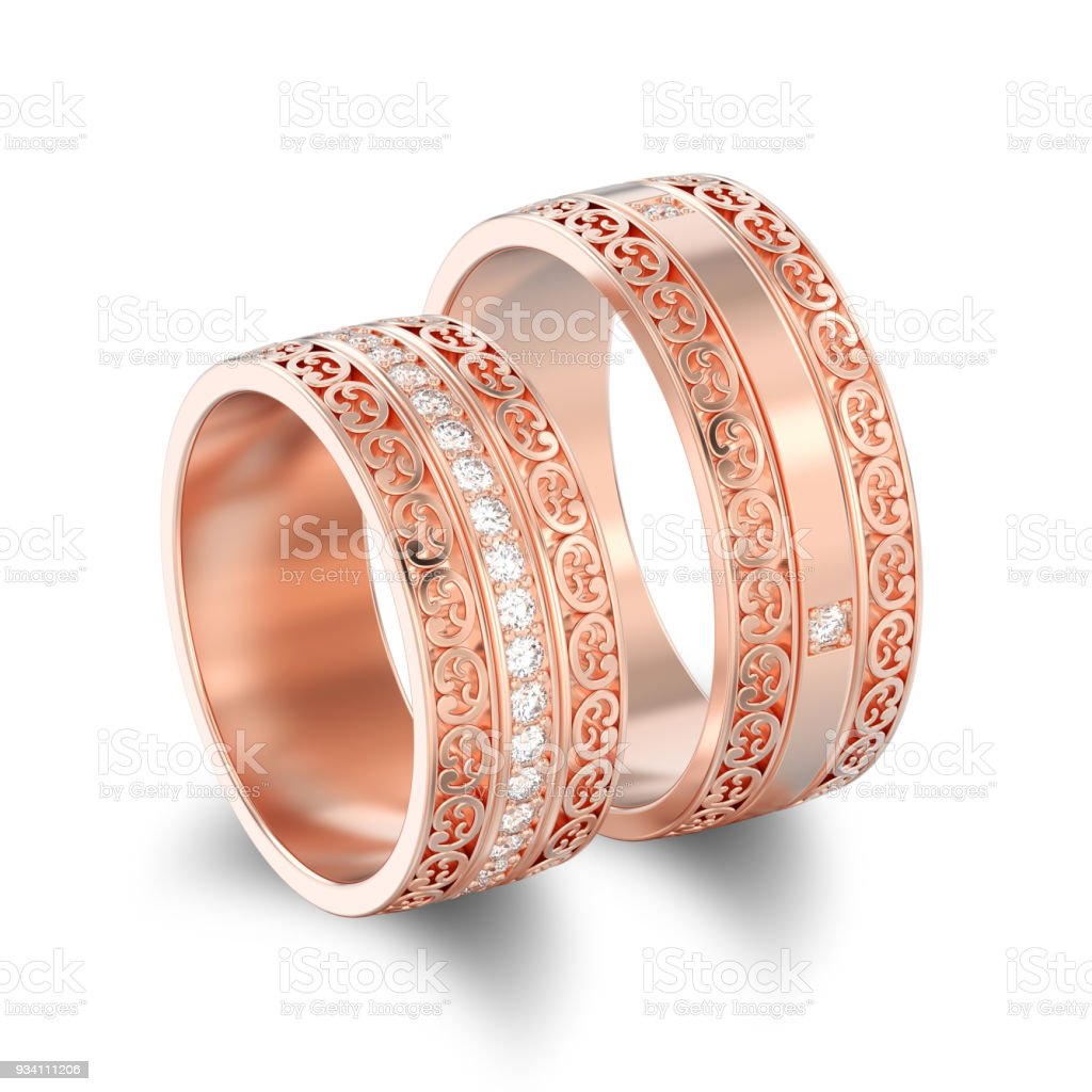 3D illustration isolated two rose gold decorative wedding bands carved out rings with ornament with shadow stock photo