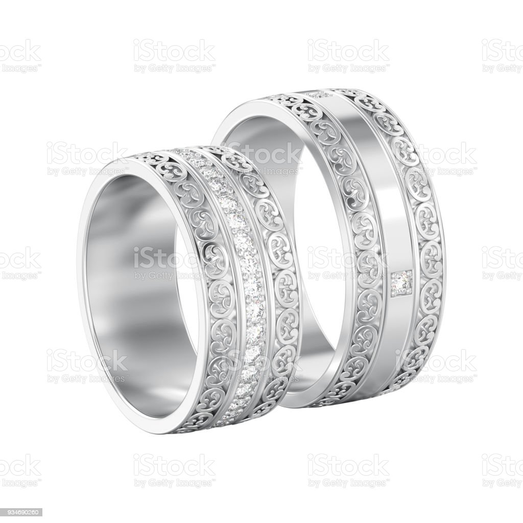 3D illustration isolated two white gold or silver decorative wedding bands carved out rings with ornament stock photo