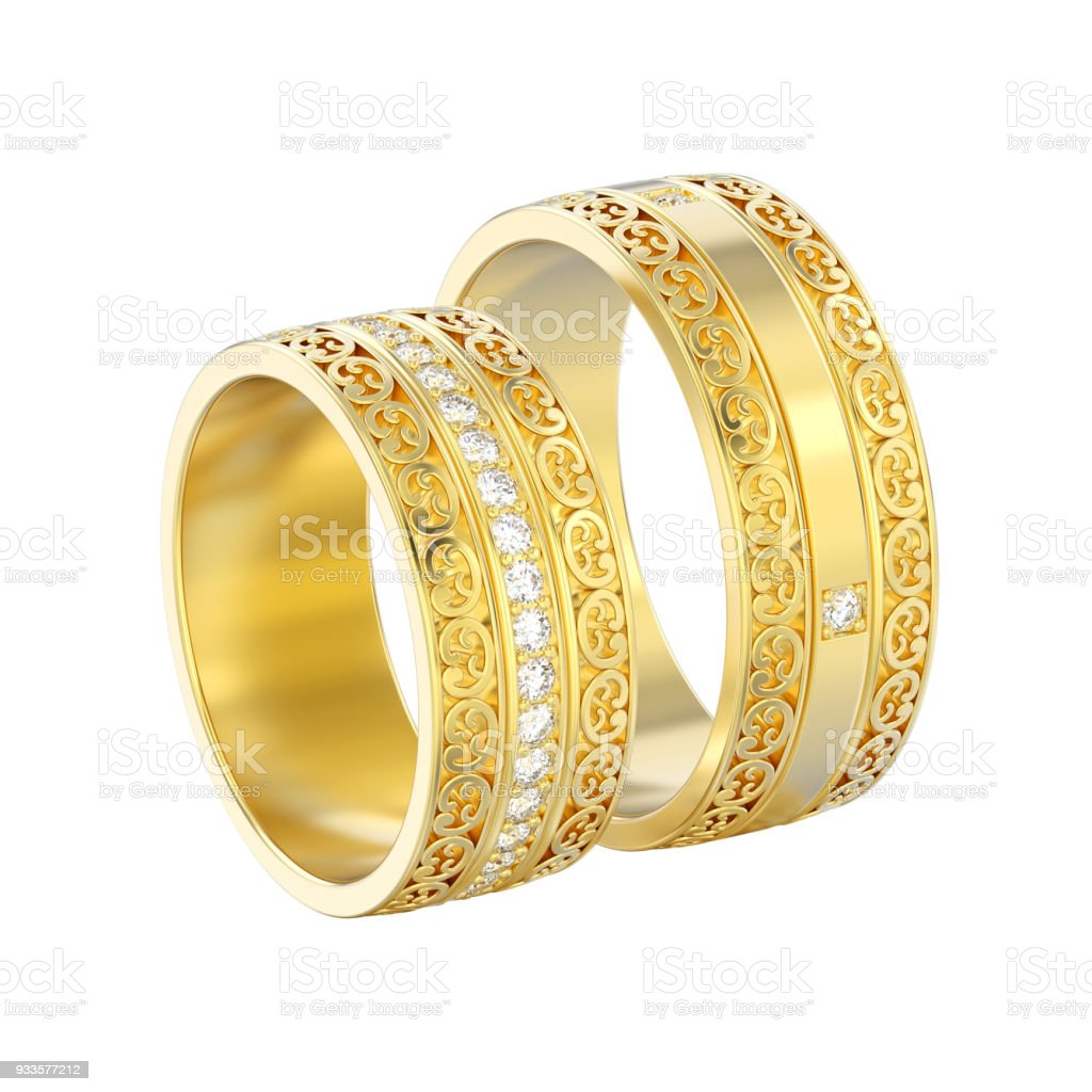 3D illustration isolated two yellow gold decorative wedding bands carved out rings with ornament stock photo