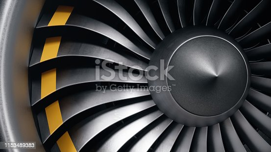 3D illustration jet engine, close-up view jet engine blades. Front view of a jet engine and blades. Rotating blades of the turbojet. Part of the airplane. Blades at the ends painted orange.
