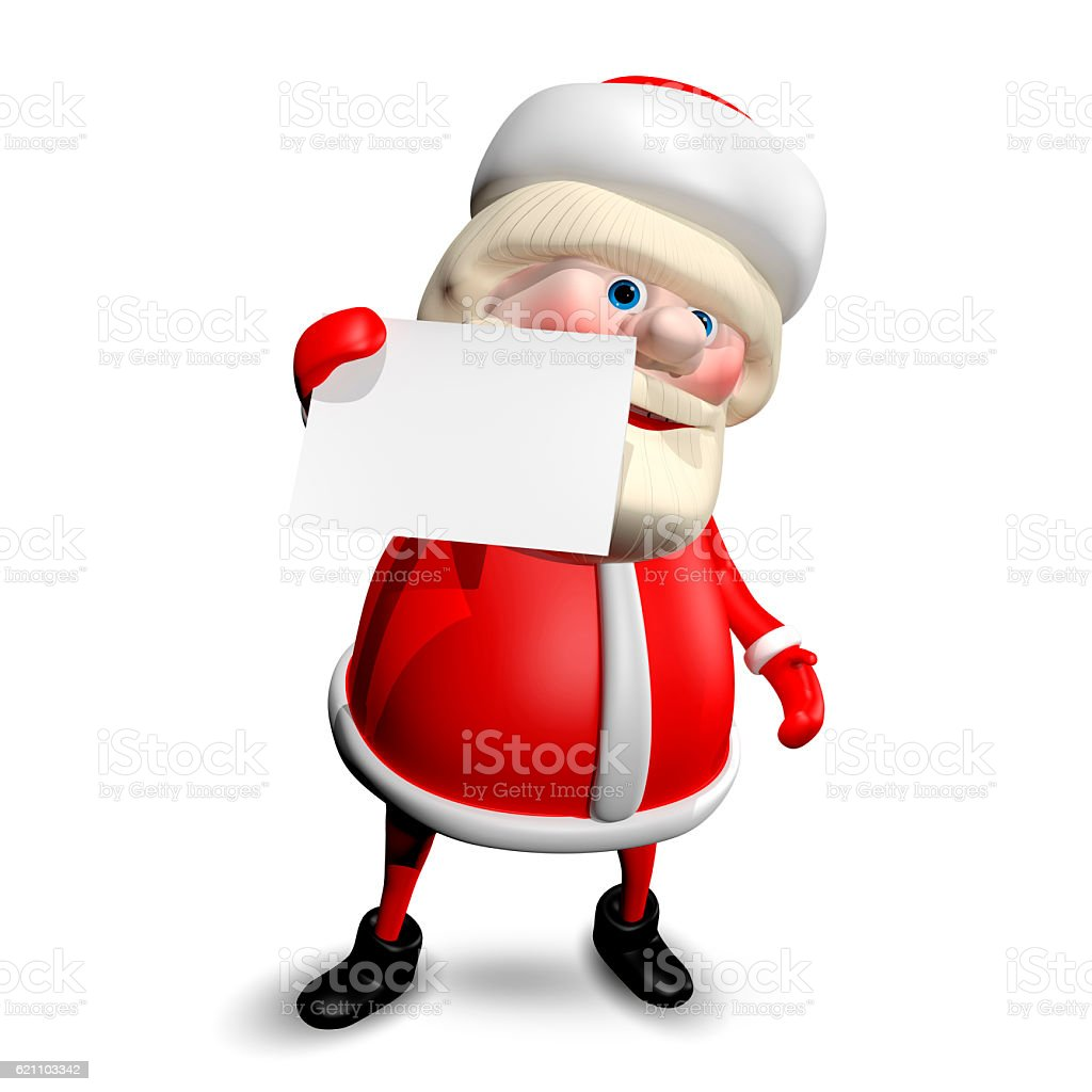c97be4a5 3D Illustration Jolly Santa Claus with White Background royalty-free stock  photo