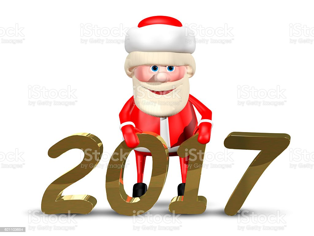 6e1f4ded 3d Illustration Jolly Santa Claus2017 Stock Photo & More Pictures of ...