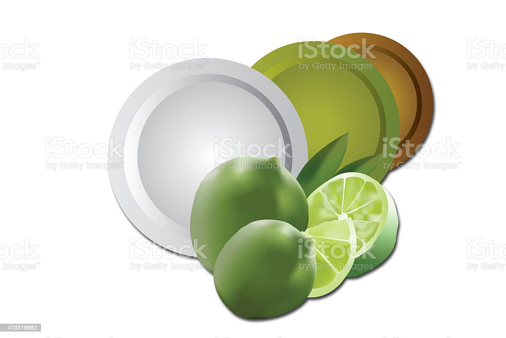 Illustration lemons and clean plates stock photo