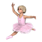 3D illustration little ballerina on white