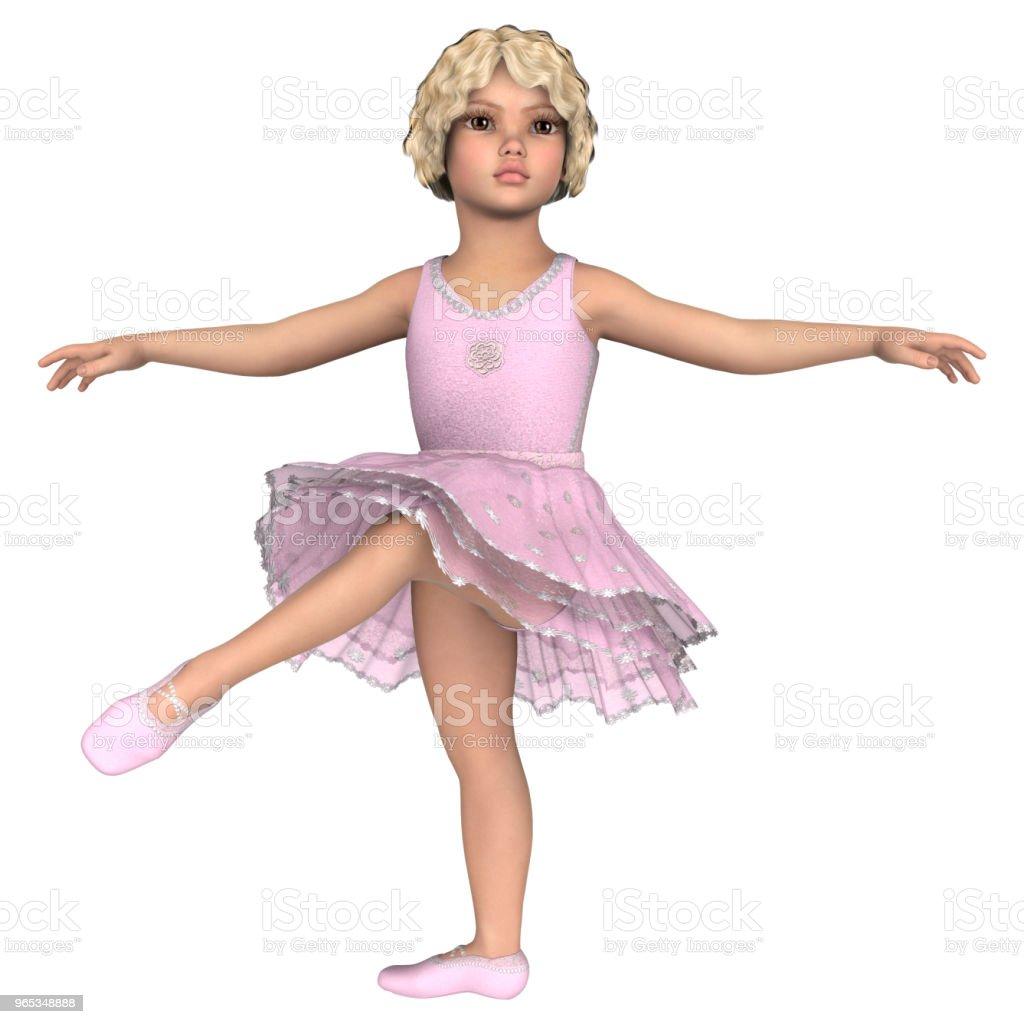 3D illustration little ballerina on white royalty-free stock photo