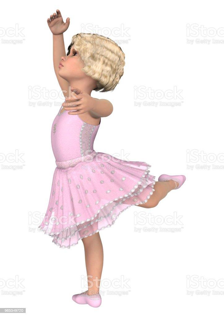 3D 插圖小芭蕾舞演員白色 - 免版稅一個人圖庫照片