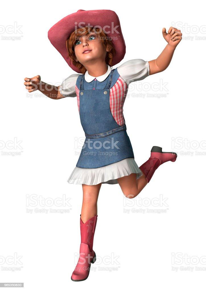 3D illustration little cowgirl on white zbiór zdjęć royalty-free