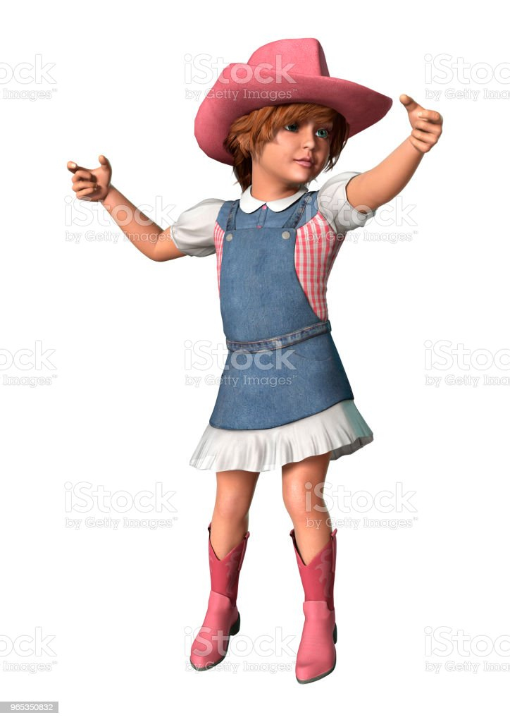 3D illustration little cowgirl on white royalty-free stock photo