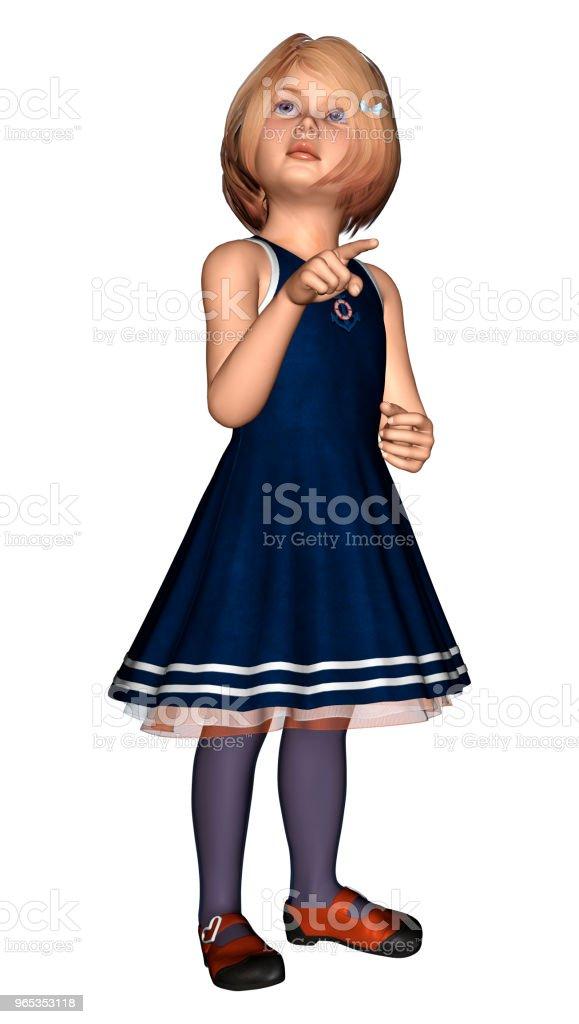 3D 일러스트 화이트에 어린 소녀 - 로열티 프리 3차원 형태 스톡 사진