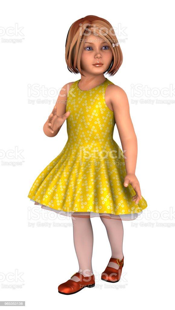 3D illustration little girl on white zbiór zdjęć royalty-free