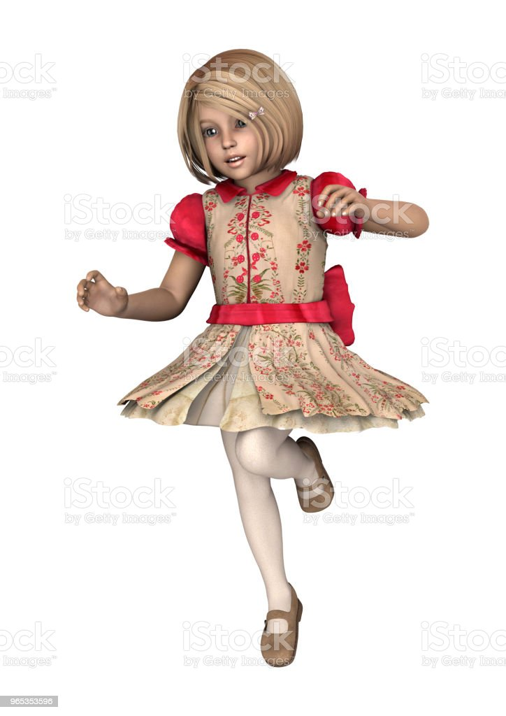 3D illustration little girl on white royalty-free stock photo