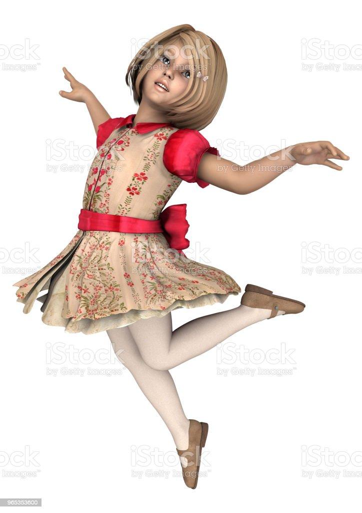 3D illustration little girl on white royalty-free stock photo