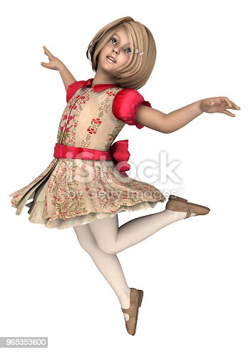 3d Illustration Little Girl On White Stock Photo & More Pictures of Beauty