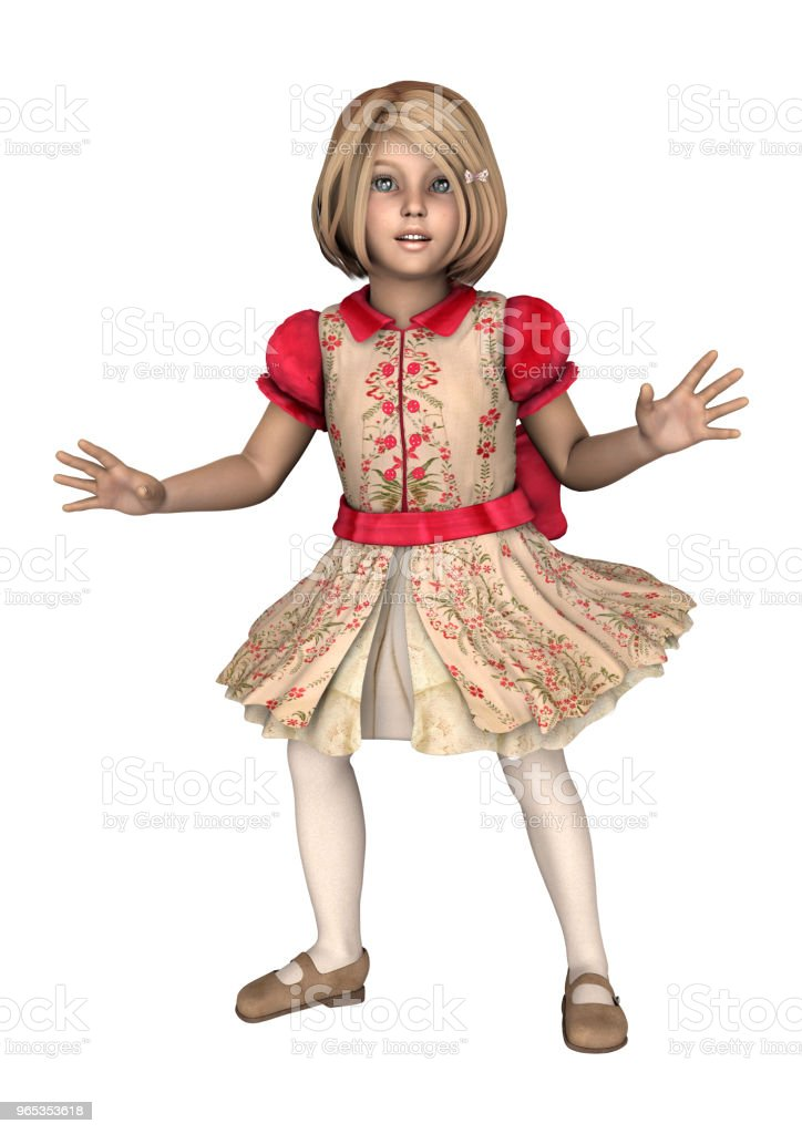 3D 插圖小女孩白色 - 免版稅一個人圖庫照片