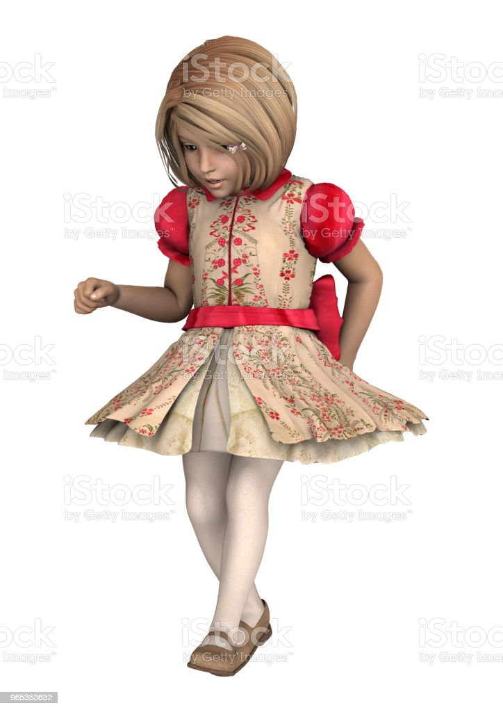 3D illustration little girl on white zbiór zdjęć royalty-free