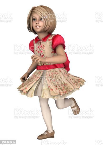 Ilustracja 3d Mała Dziewczynka Na Białym - zdjęcia stockowe i więcej obrazów Blond włosy