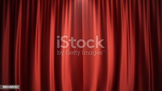 istock 3D illustration luxury red silk velvet curtains decoration design, ideas. Red Stage Curtain for theater or opera scene backdrop. Mock-up for your design project 995488052