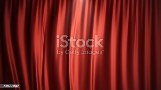 istock 3D illustration luxury red silk velvet curtains decoration design, ideas. Red Stage Curtain for theater or opera scene backdrop. Mock-up for your design project 995488502