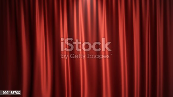 istock 3D illustration luxury red silk velvet curtains decoration design, ideas. Red Stage Curtain for theater or opera scene backdrop. Mock-up for your design project 995488700