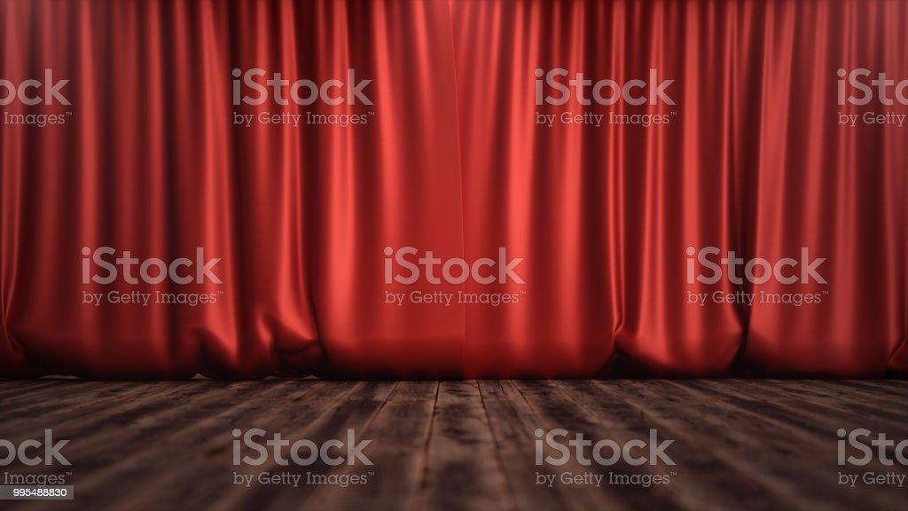 3d Illustration Luxury Red Silk Velvet Curtains Decoration Design ...