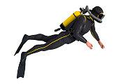 3D illustration male diver on white