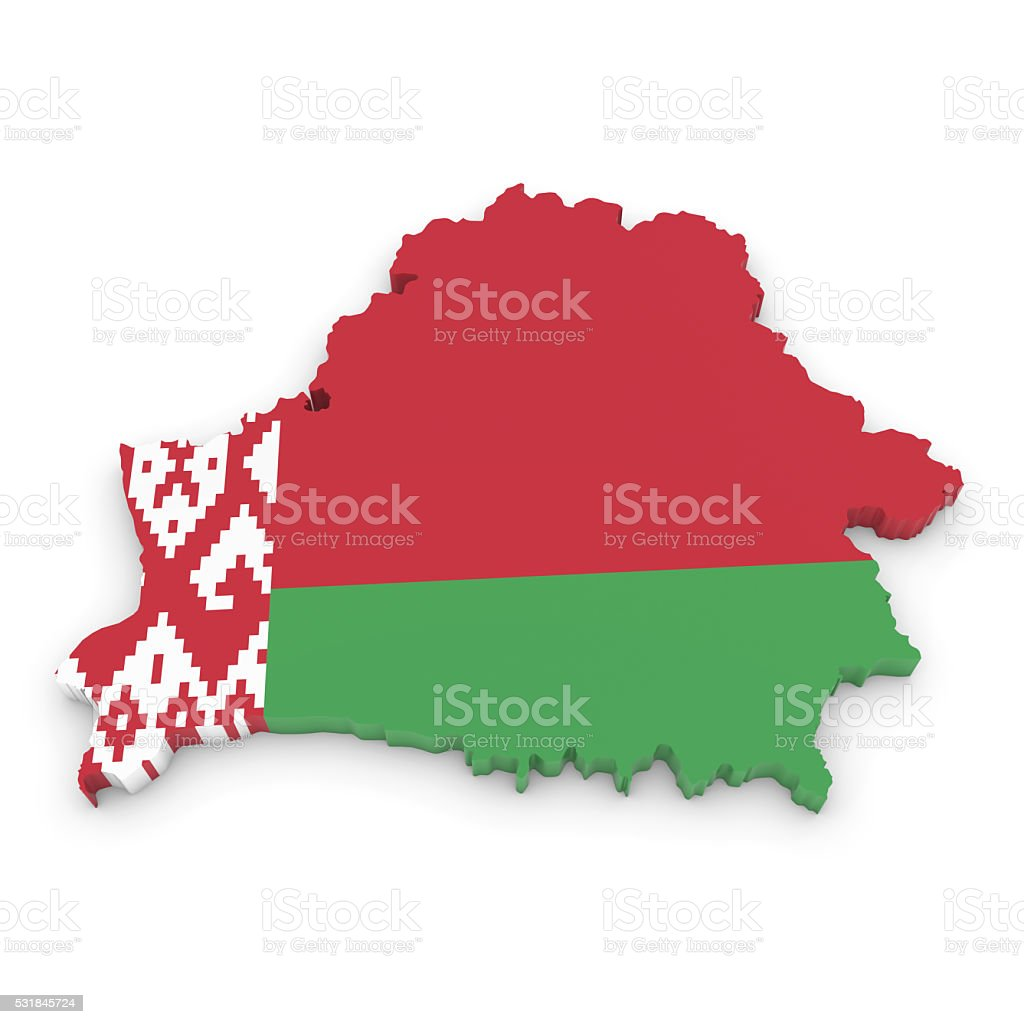 3D Illustration Map Outline of Belarus with the Belarusian Flag stock photo