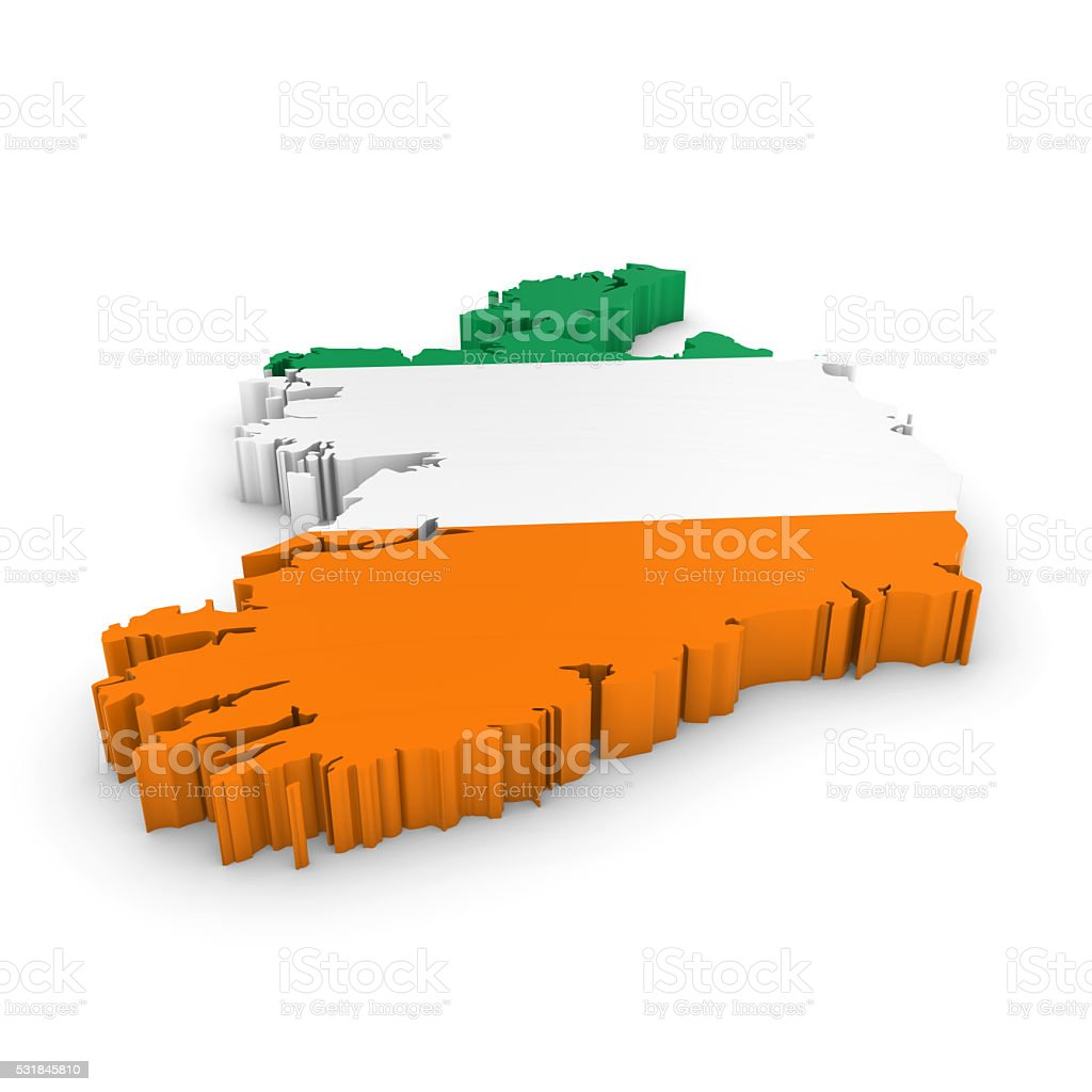 3d illustration map outline of ireland with the irish flag stock