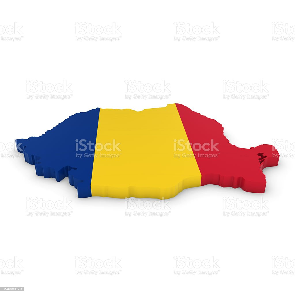 3D Illustration Map Outline of Romania with the Romanian Flag stock photo