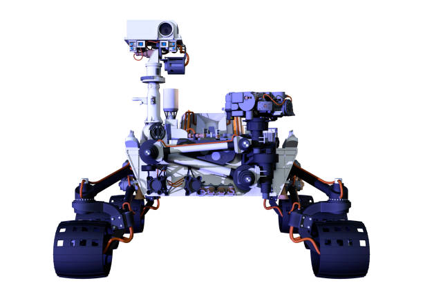 3D illustration Mars rover on white 3D rendering of a Mars rover space vehicle isolated on white background rover stock pictures, royalty-free photos & images