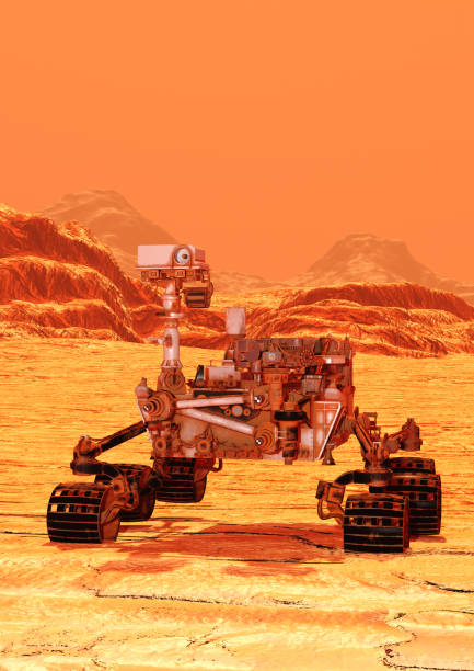 3D illustration Mars rover 3D rendering of a Mars rover space vehicle on a red planet landscape background rover stock pictures, royalty-free photos & images