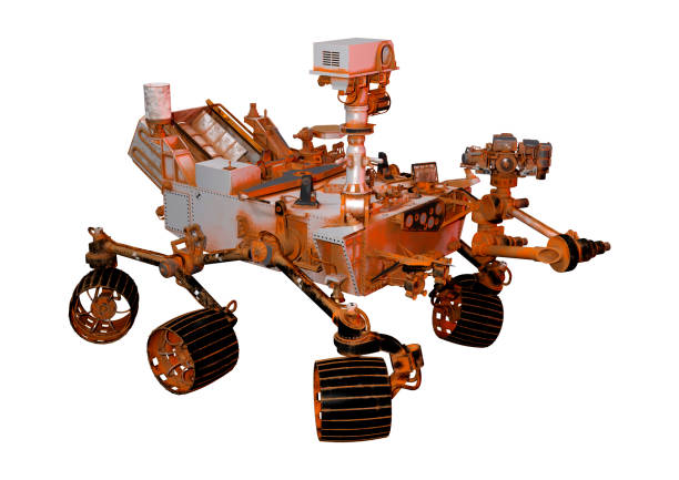 3D illustration Mars rover space vehicle on white 3D rendering of a Mars rover space vehicle isolated on white background rover stock pictures, royalty-free photos & images