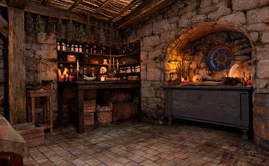 3D rendering of a medieval fairy tale cottage interior