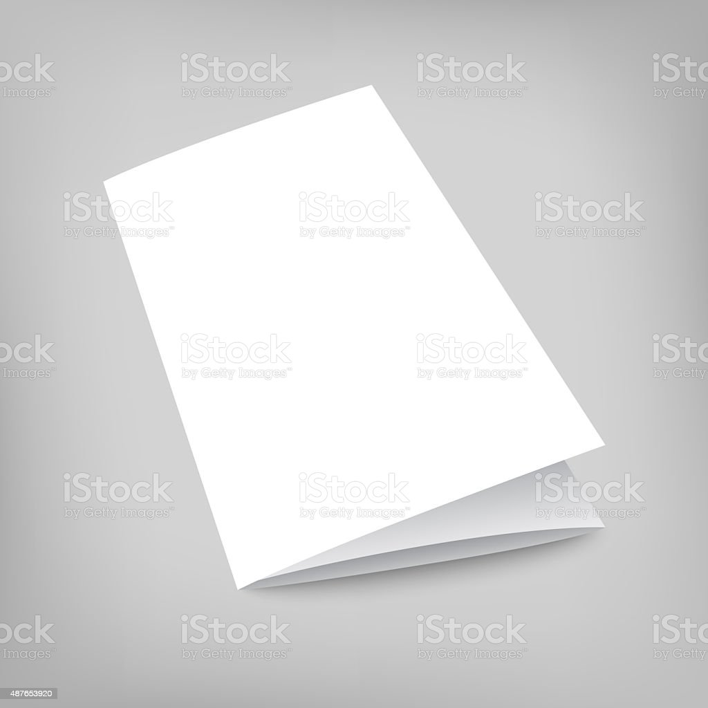 Illustration mock-up tri-fold flyer on gray stock photo