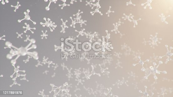 523163836 istock photo 3D illustration molecular structure. Molecular chemistry, background with molecular element of the atom. Medical background. Genome at the molecular level 1217891976