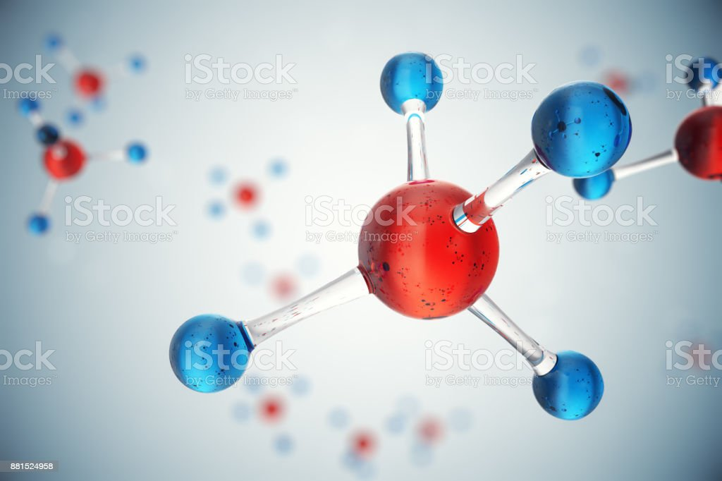 3D illustration molecules. Atoms bacgkround. Medical background for banner or flyer. Molecular structure at the atomic level. royalty-free stock photo