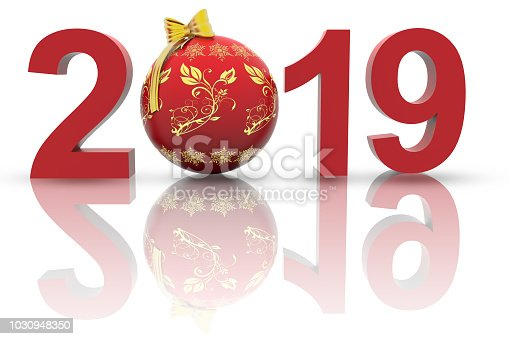istock 3D illustration - New Year 2019 Christmas decoration 1030948350