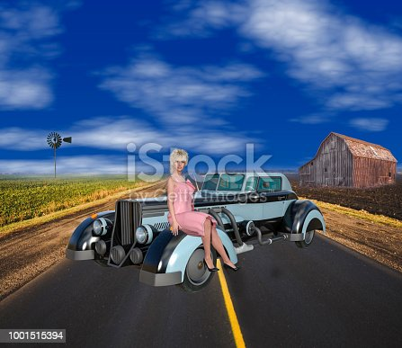 3D Illustration of 1930s Retro Americana Scene on Clear Sunny Day.