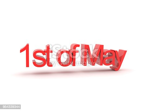 3D illustration of 1st of May text. Isolated on white.