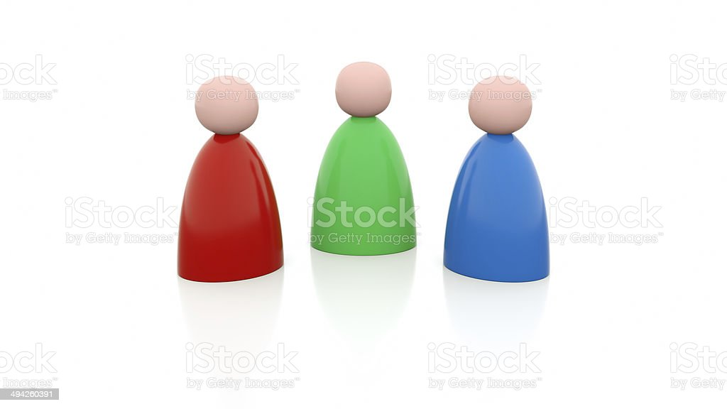 Illustration of 3 person in different colors stock photo